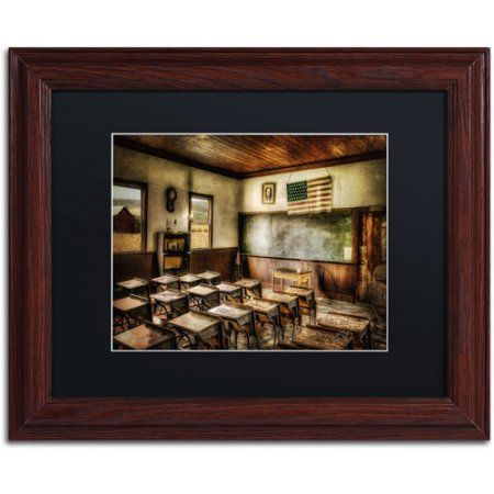 trademark fine art one room school canvas art by lois bryan black mat wood - Wood Frames For Canvas Paintings
