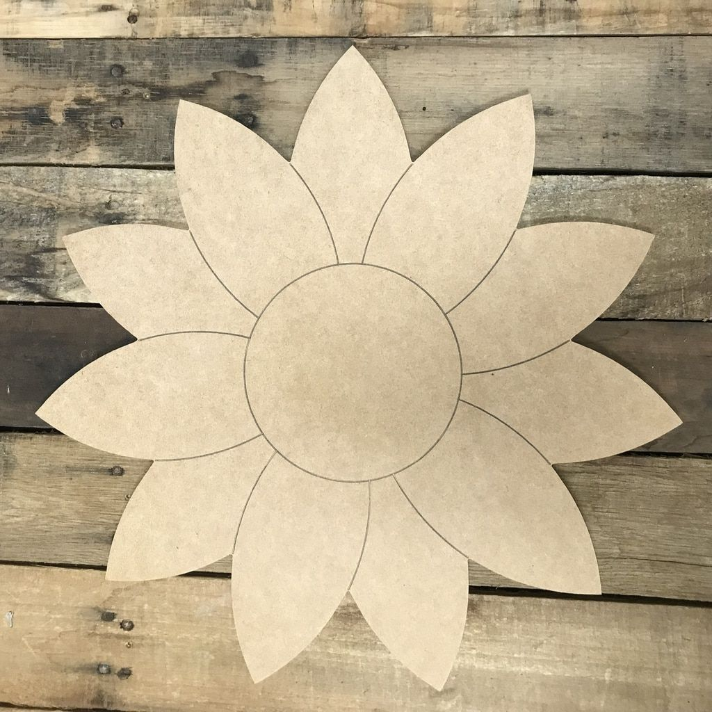 Sunflower Unfinished Wooden Cutout Craft Paint By Line Sunflower Door Hanger Wooden Cutouts Sunflower Crafts