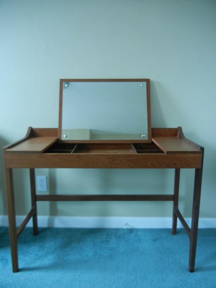 Mid Century Danish Modern Teak Flip Top Vanity Desk