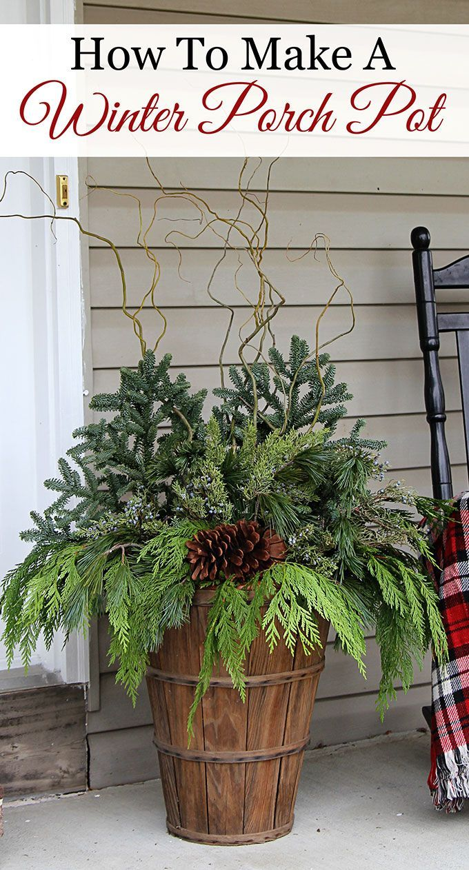 Front porch decorating ideas for winter - Quick And Easy Tutorial For Making These Gorgeous Winter Porch Pots Made In Baskets For