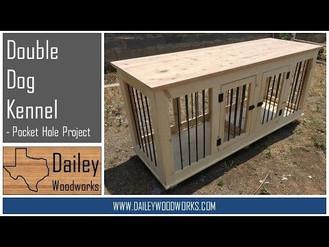 double dog kennel - made with pocket holes. measures 74lx34hx24w