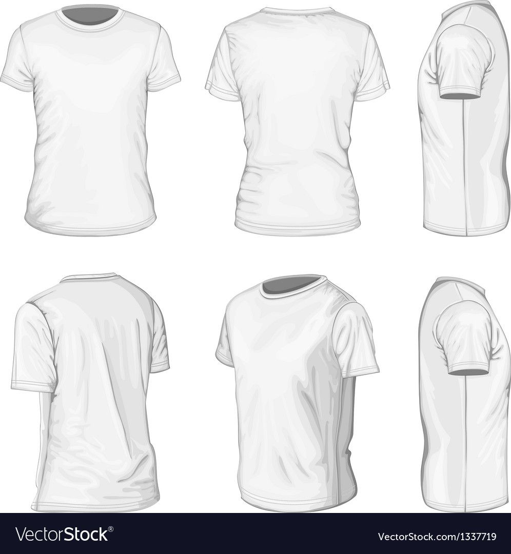 Download All Views Men S White Short Sleeve T Shirt Design Templates Front Back Half Turned And Side Views Vector Illustration No Mesh Down Kaos Baju Kaos Gambar