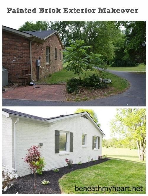Instant Curb Appeal With Diy Shutters Brick Exterior Makeover Painted Brick Exteriors And