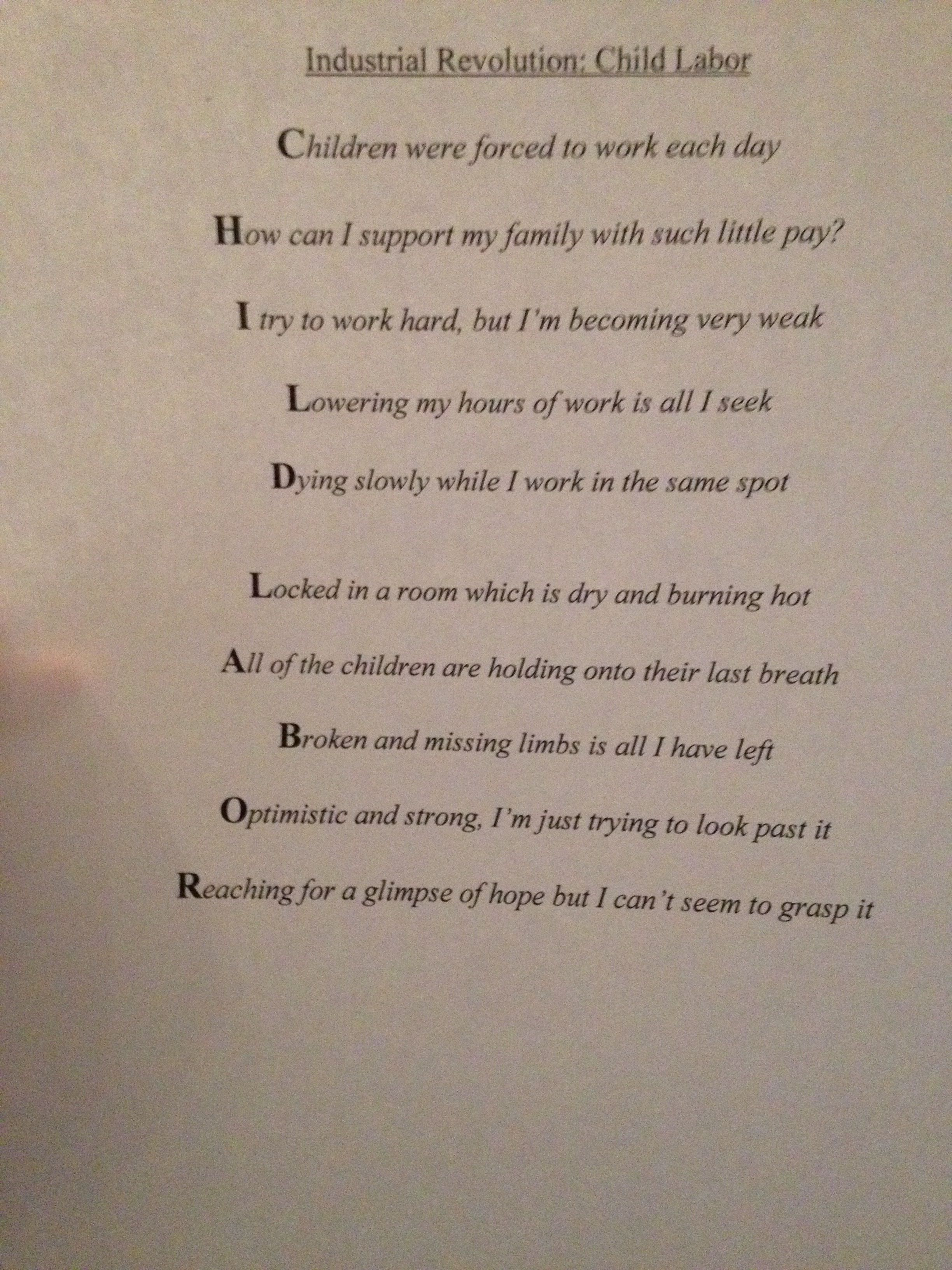 Industrial Revolution Child Labor Acronym And Poem