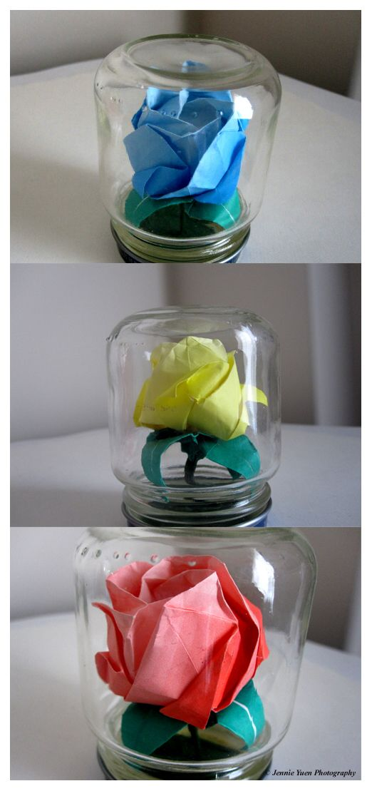 origami roses in mini jars by sweetcivic school crafts