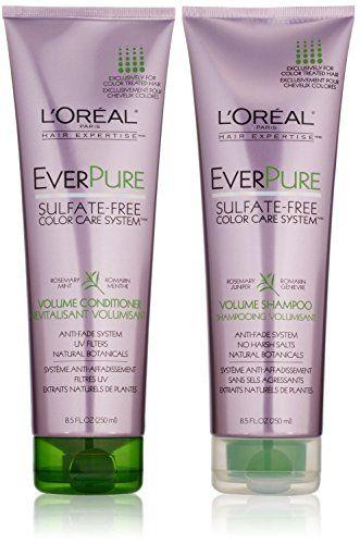 Introducing Loreal Paris Everpure Sulfatefree Color Care System Duo Set Volume Shampoo Conditioner 85 Ounce 1 Volumizing Shampoo Shampoo Shampoo For Dry Scalp