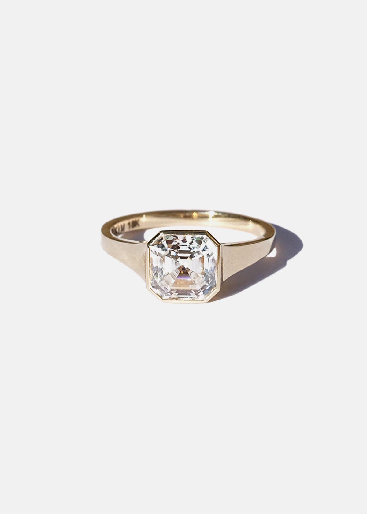 Asscher Diamond Cosma Ring Katkim Fine Jewelry Asscher Diamond Ladies Diamond Rings Bezel Diamond Rings