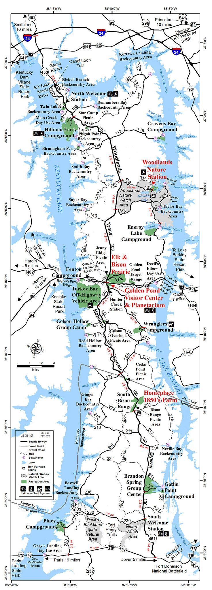 LBLGenMap Lakes Kentucky And Camping Places - Kentucky lakes map