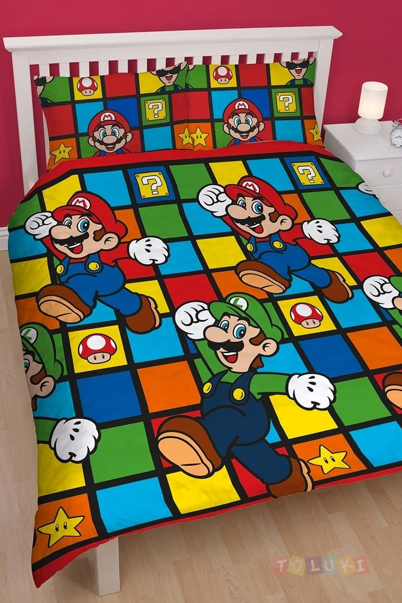 parure de lit mario et luigi enfant pyjama disney social. Black Bedroom Furniture Sets. Home Design Ideas