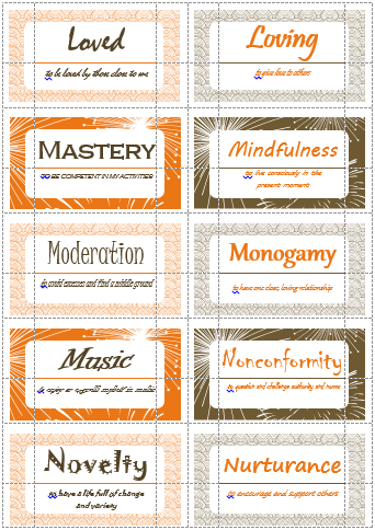 100 value cards l n inspired from motivational interviewing print 100 values cards p s inspired from motivational interviewing print out on avery business cards and use with clients to help them define and prioritize colourmoves