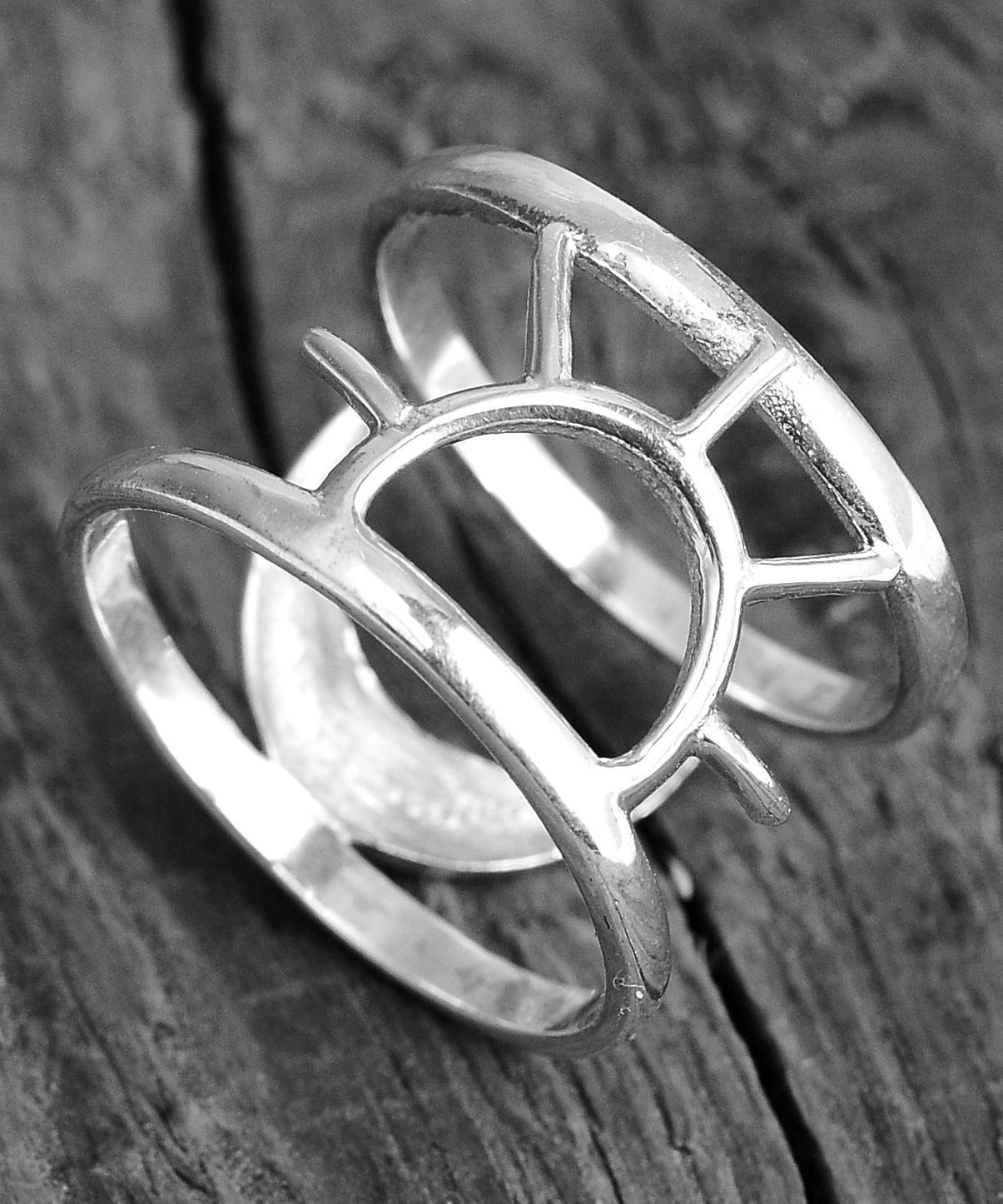 Sterling Silver Large Moon and Sun Ring Statement Ring