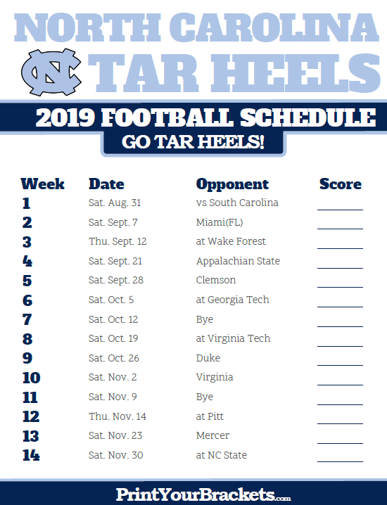 graphic regarding Uk Basketball Printable Schedule identified as Printable 2019 North Carolina Tar Heels Soccer Plan