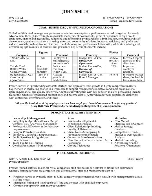 A professional resume template for a President and Owner Want it - director level resume