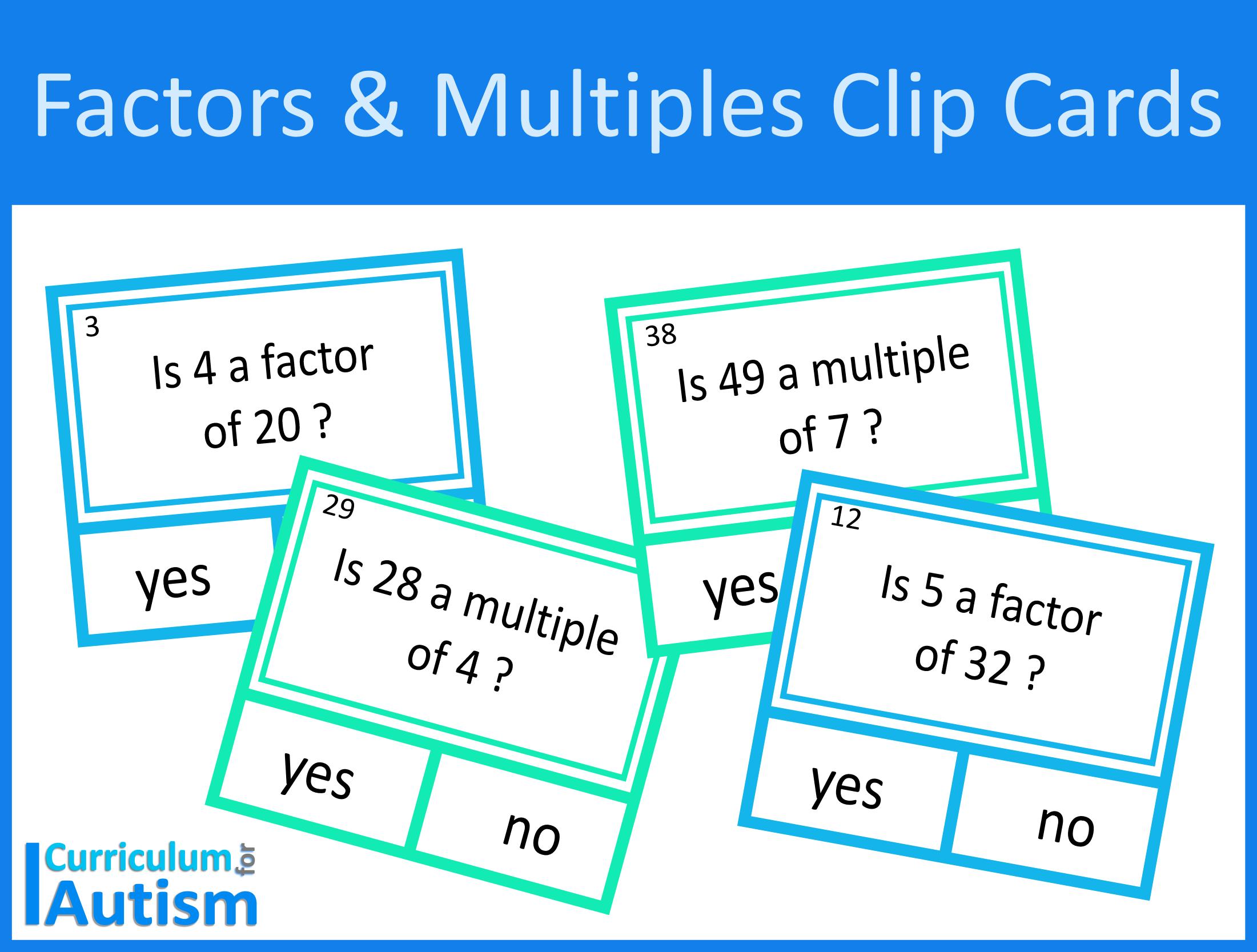 Factors and Multiples Clip Cards Digital Download #autism #SEND ...