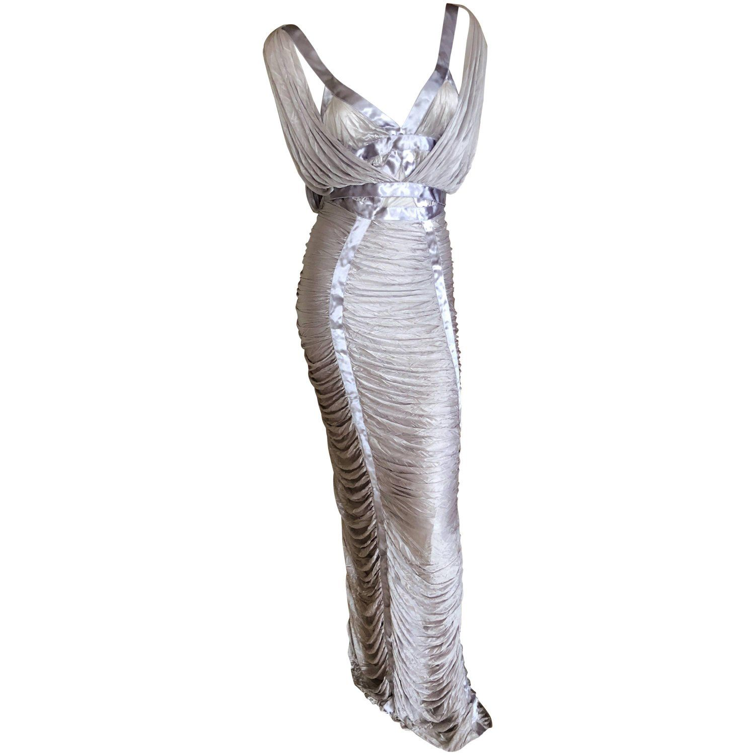 965164fe939 Yves Saint Laurent by Tom Ford Silvery Lilac Ruched Evening Dress in ...
