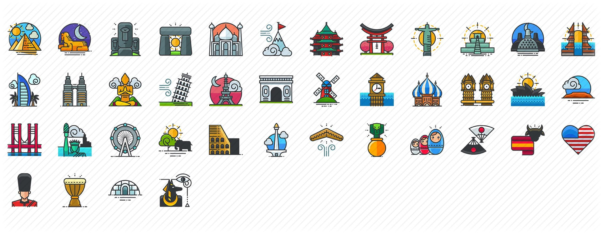 country symbols and world monuments Filled outline Icons
