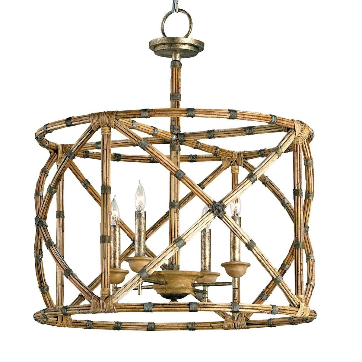 Bamboo Lattice Cage Chandelier Lantern Chandelier Coastal Chandelier Drum Chandelier