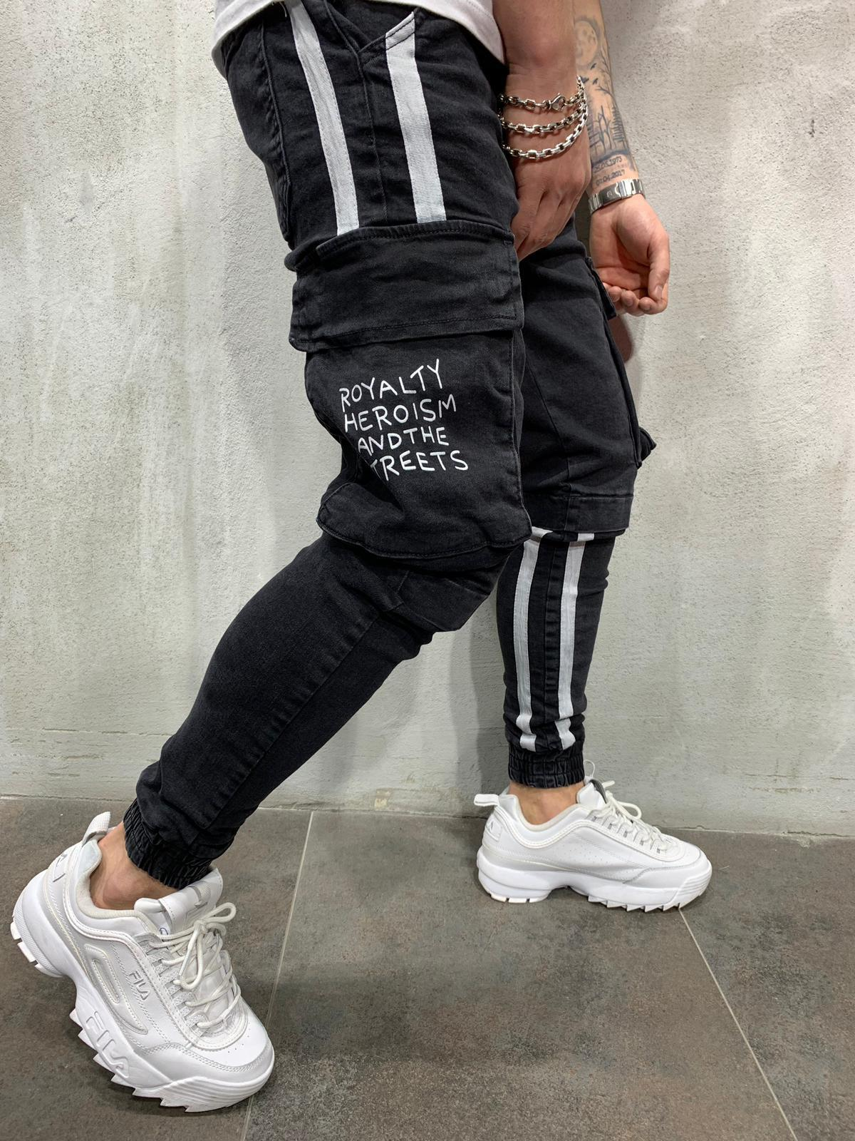Cargo Jeans White Side Stripes Gentlemantobe Mens Pants Fashion Striped Jeans Mens Outfits