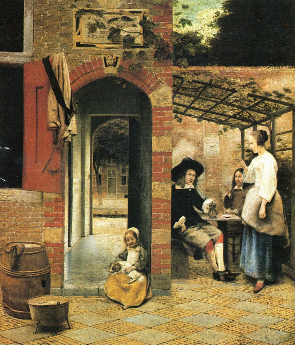 Arte Flamenco Barroco Pieter De Hooch Drinkers In The Bower 1658 Mooc European
