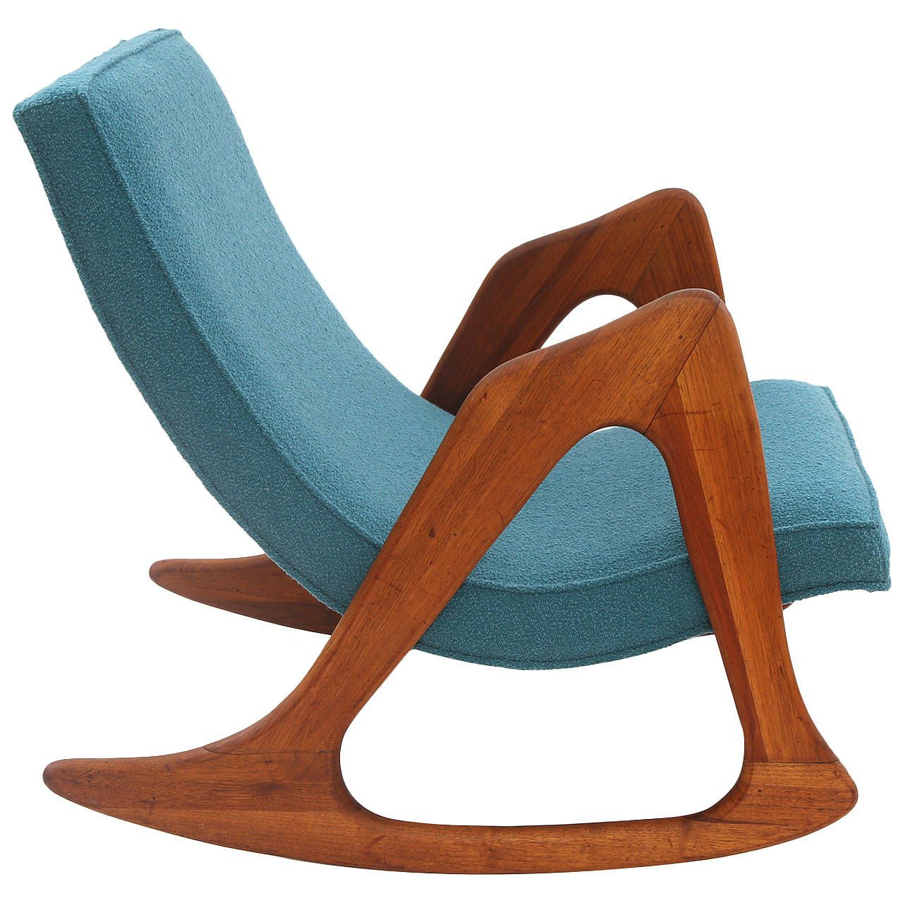 Adrian Pearsall Walnut And Upholstered Rocking Chair