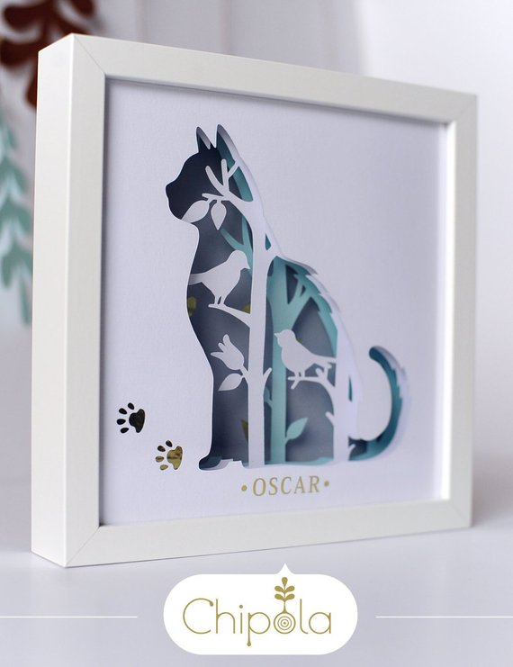 Cat DIY art, 3d DIY paper art kit, cat paper art, papercraft, paper cut, layered paper art, art with light, paper with light, animals art
