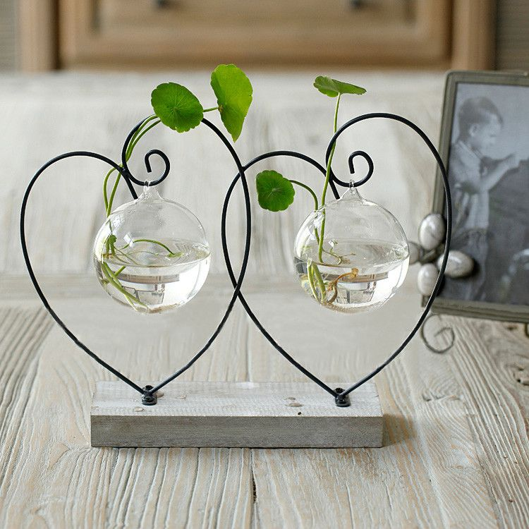 Home Vase Decoration Brief Transparent Glass Vase Glass Hydroponic Flower Fashion At Home Decoration Double Hearts