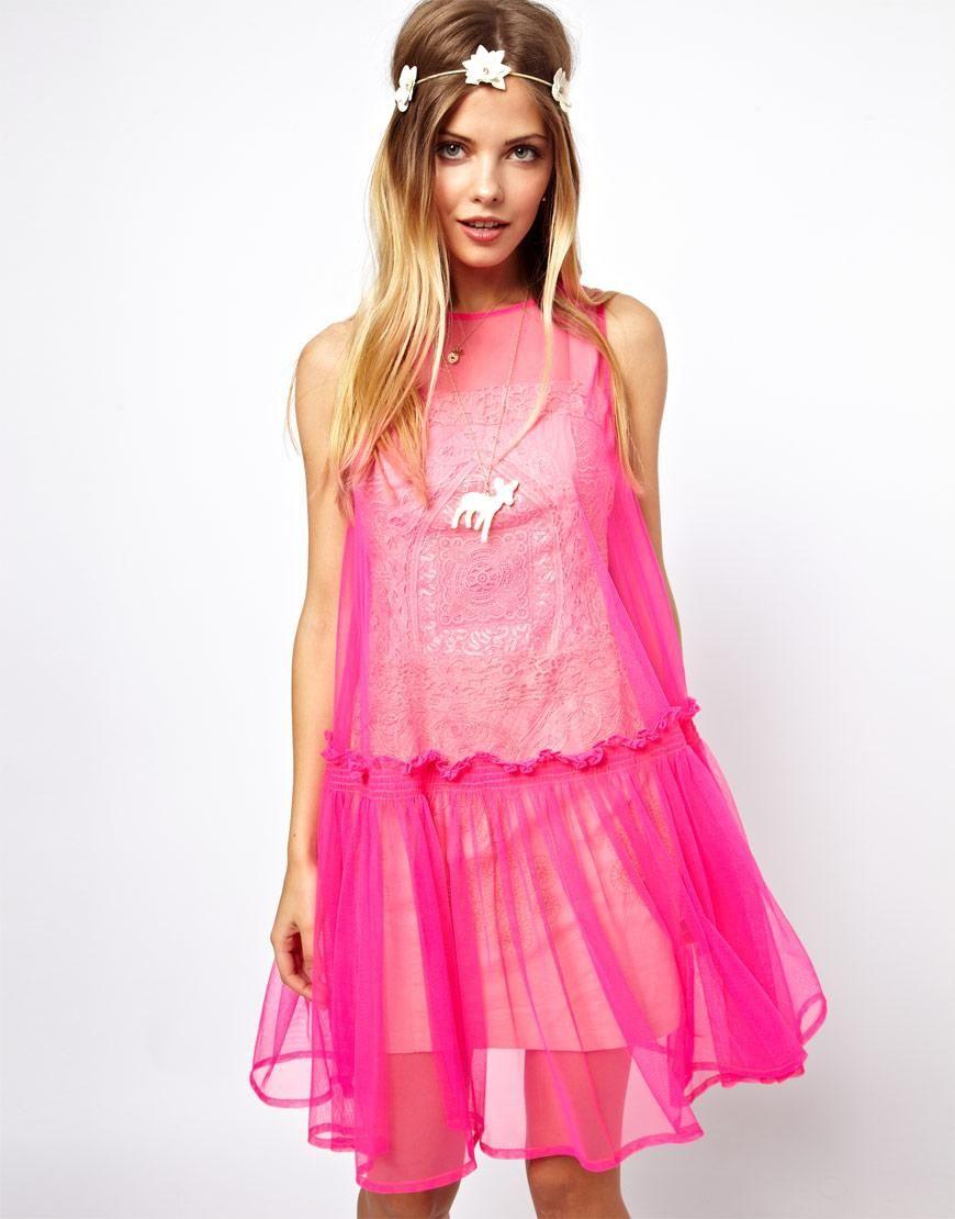 Asos asos molly goddard applique sleeveless smock dress at asos