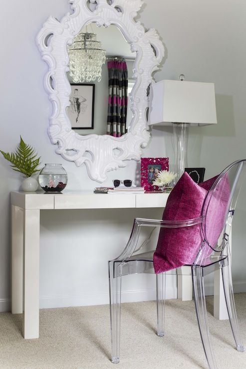 B Metro S Rooms West Elm Parsons Desk With Drawers Ghost Chair White Rococo Mirror Mirr