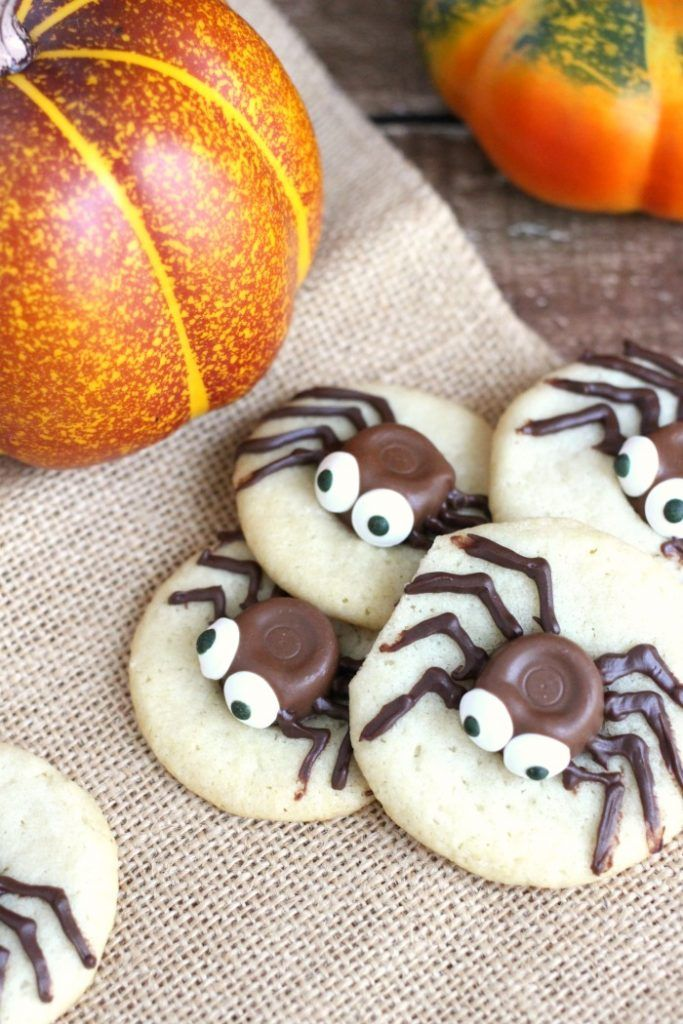 These Sugar Cookie and Caramel Spider Cookies are the perfect easy - halloween baked goods ideas
