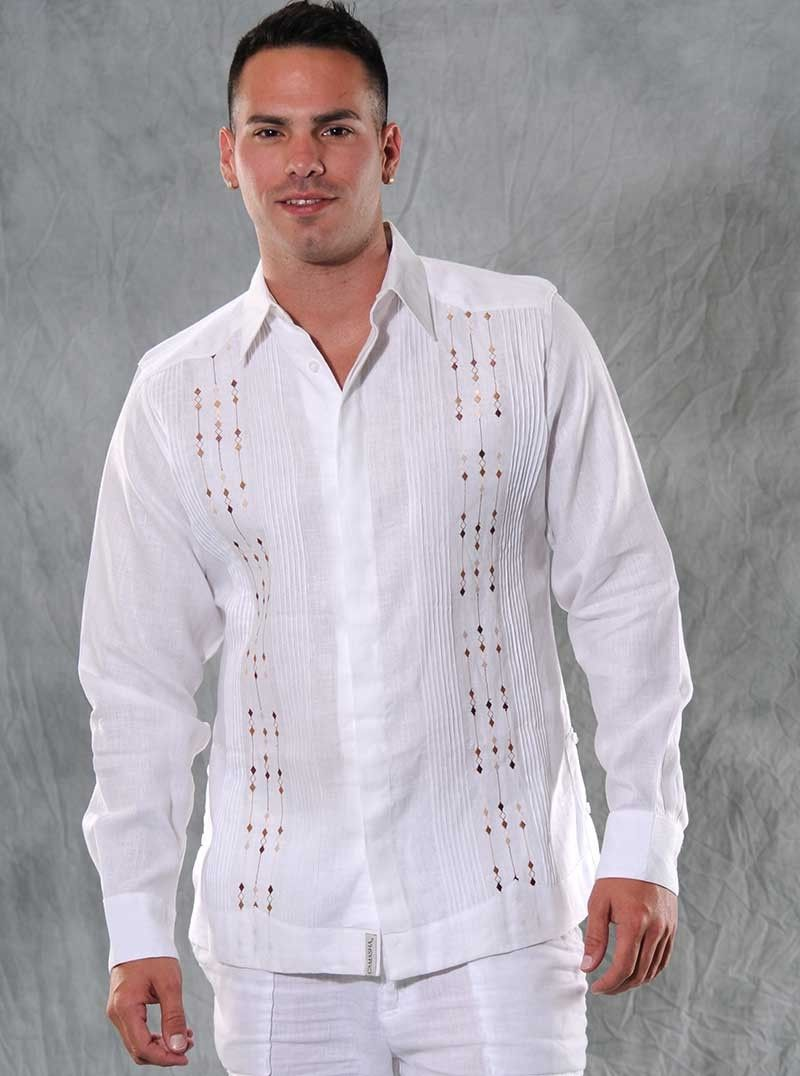 2d46d47c50 Guayabera Linen for wedding. Long sleeve White and Brown. Embroidered. -  Guayabera Italian