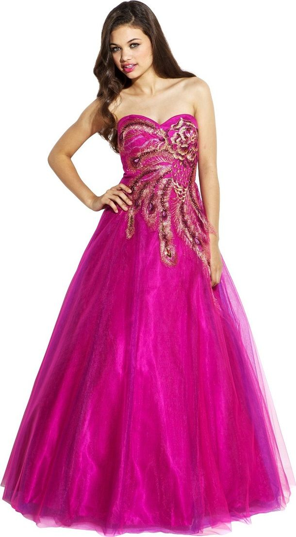 Prom Dresses 2014 Hot Pink Ball Gown Prom Dresses For Bridal Prom
