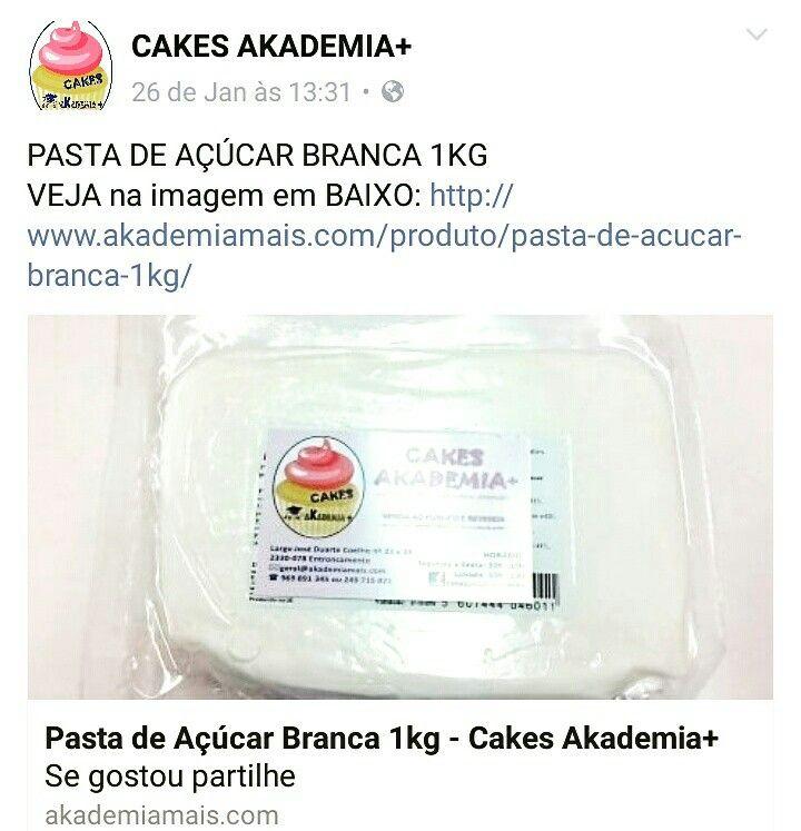 PASTA DE AÇÚCAR BRANCA 1KG VEJA na imagem em BAIXO: http://www.akademiamais.com/produto/pasta-de-acucar-branca-1kg/