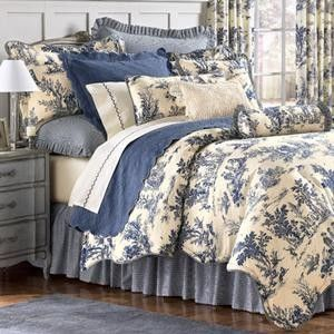 beautiful in bluethis may be my next color for the bedroom - Toile Bedding