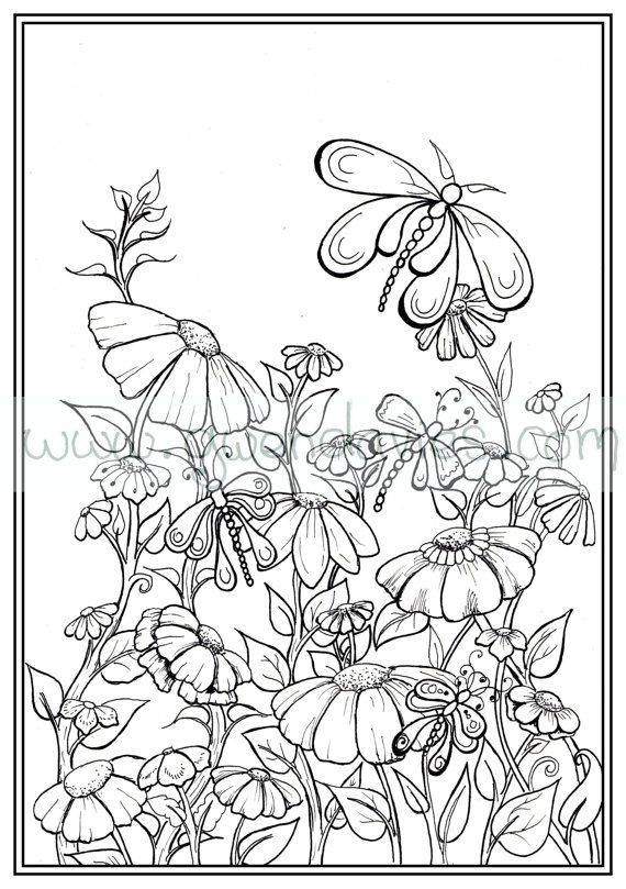Adult colouring in PDF download garden henna zen mandalas flower ...