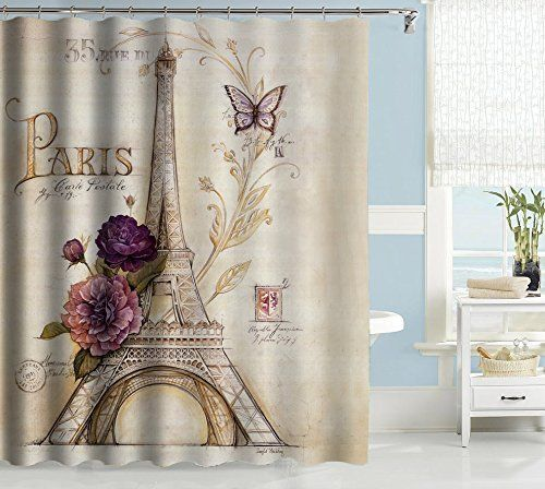 Uphome Vintage Paris Themed Light Brown Eiffel Tower Bathroom Shower Curtain