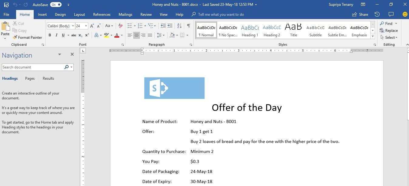 create custom document template from sharepoint list using