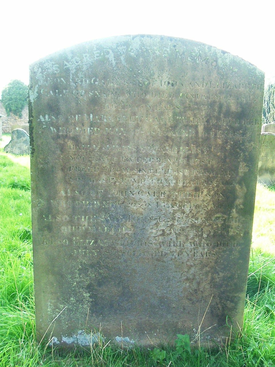 Well cemetery, North Yorkshire.  This is difficult to read but I think it is Leonard the son of John and Elizabeth Gale of Snape died 22 Jan 1812 aged 15 and also Margaret his sister died 17 July 1815 aged 16.  Also their parents John died ? and Elizabeth. died 1857 others?