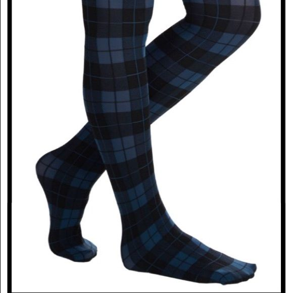 """ModCloth """"Amazing Assistant tights"""" In Blue Brand new purchased from Modcloth, plaid printed tights in very pretty blue color. One size fits most ModCloth Pants"""