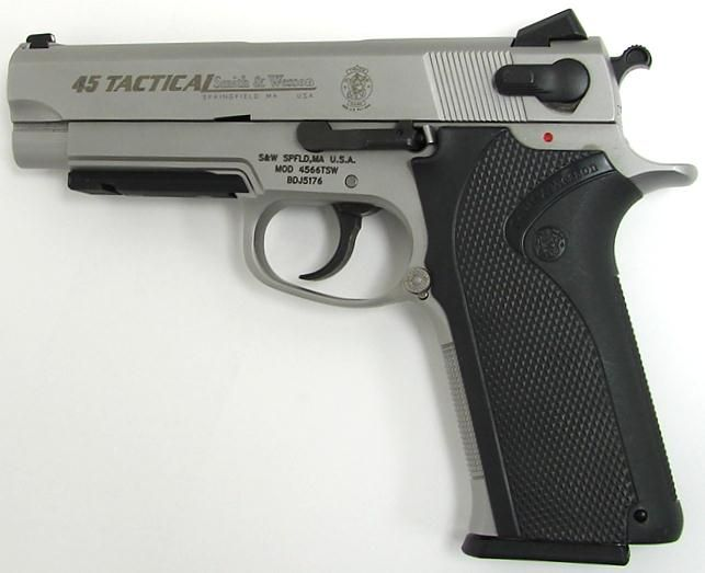 Smith & Wesson 4566 Tactical  45 ACP caliber pistol with low