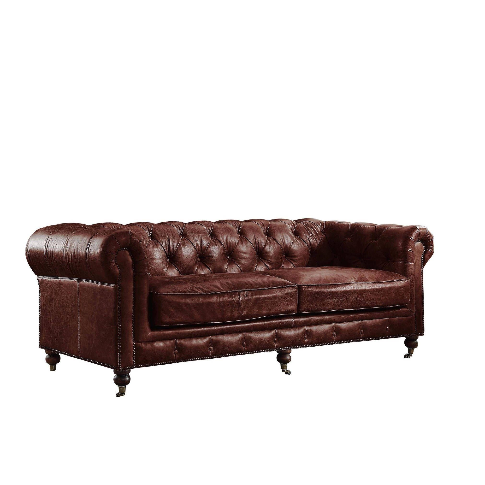 Acme Furniture Aberdeen Vintage Dark Brown Top Grain Leather Sofa