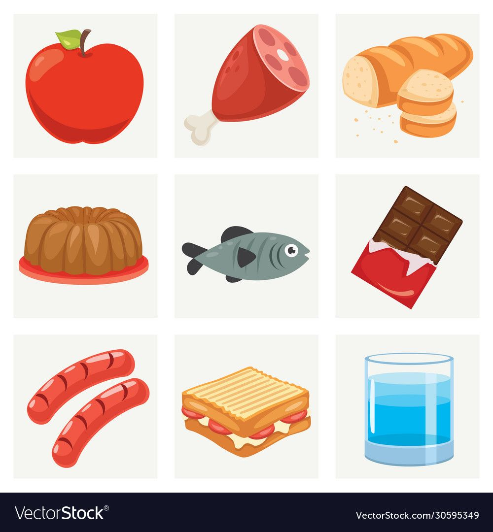 Set various fresh foods vector image on VectorStock in