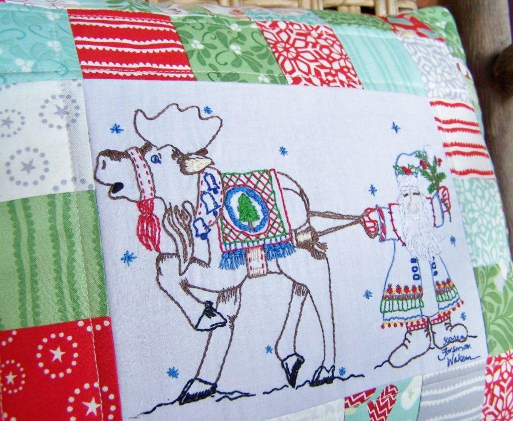 Christmas hand embroidery pattern umerry krismooseu scandinavian
