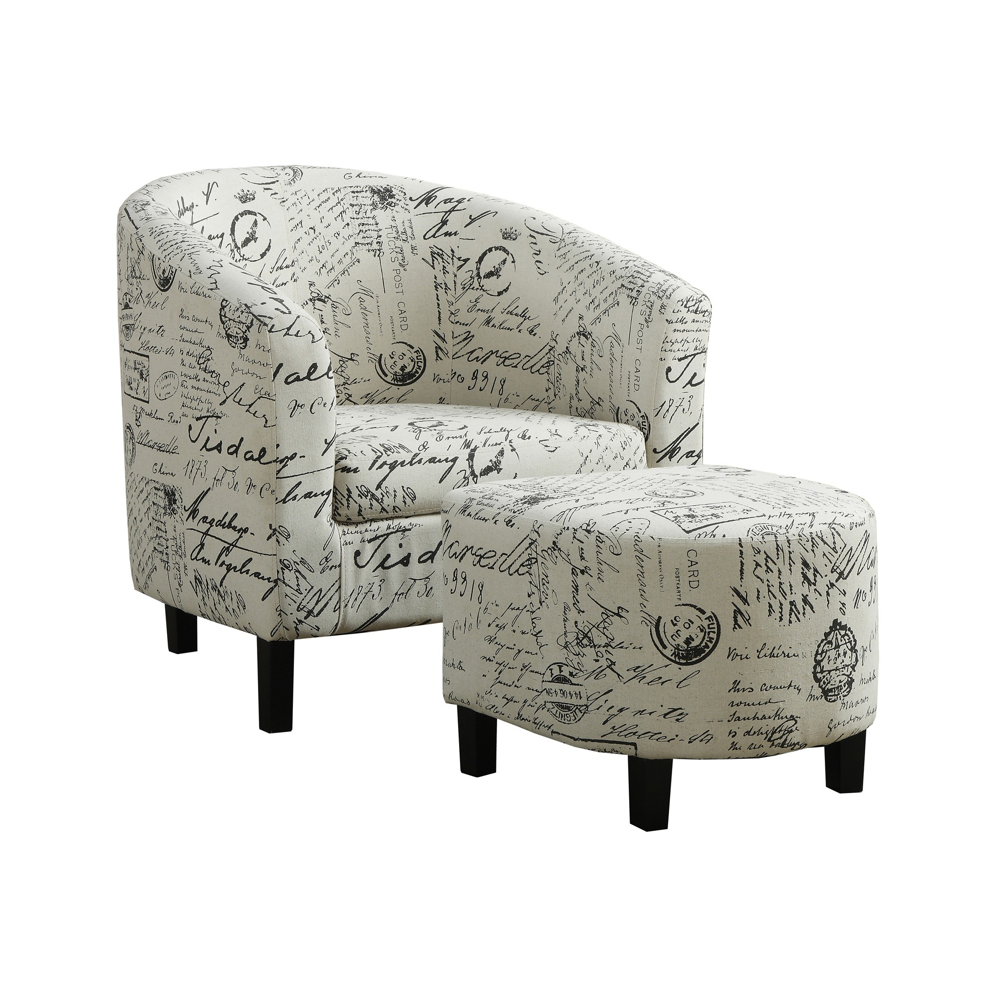 Accent Chair 2 Piece Set Vintage French Fabric