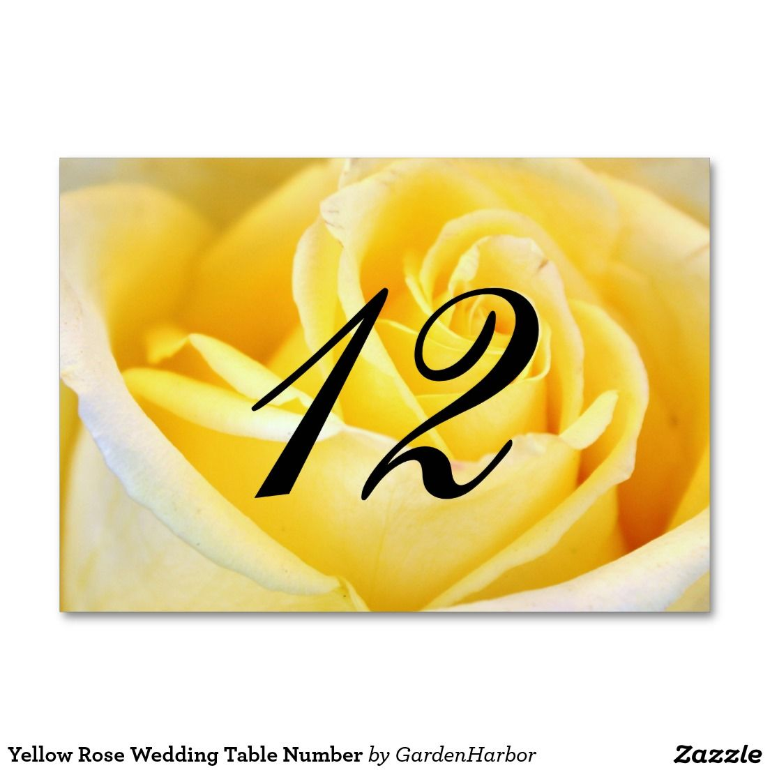 Yellow Rose Wedding Table Number Table Cards