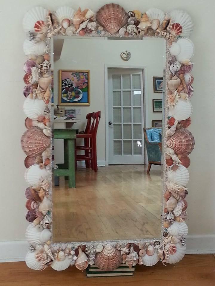 Another custom order seashell mirror! elegantshells.net Heather ...