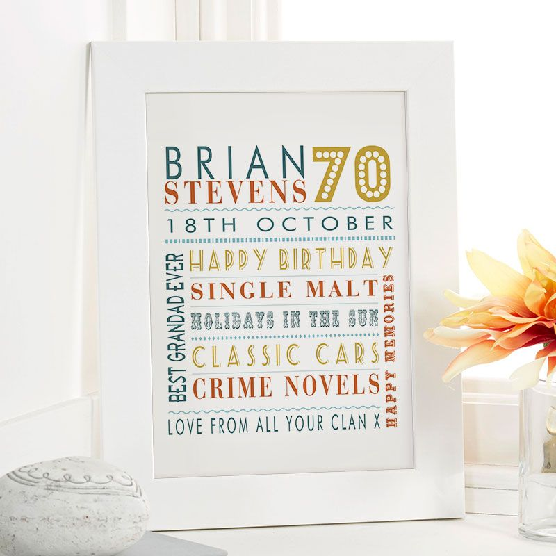 70th Birthday Gift For Him Of Personalised Age Word Art Safari Colour Option Beautiful Gifts To Commemorate A Landmark