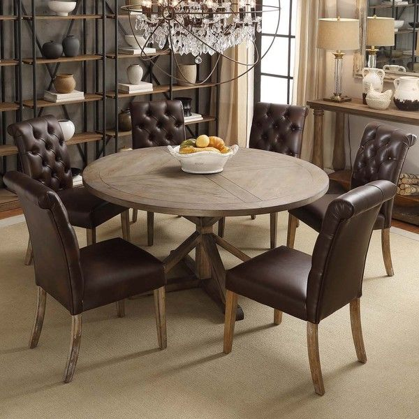 TRIBECCA HOME Benchwright Rustic X-base Round Pine Wood Dining ...