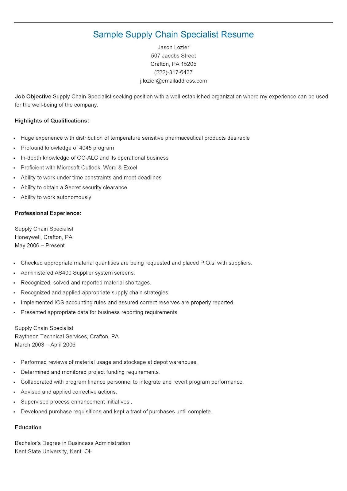 Sample Supply Chain Specialist Resume  Resame