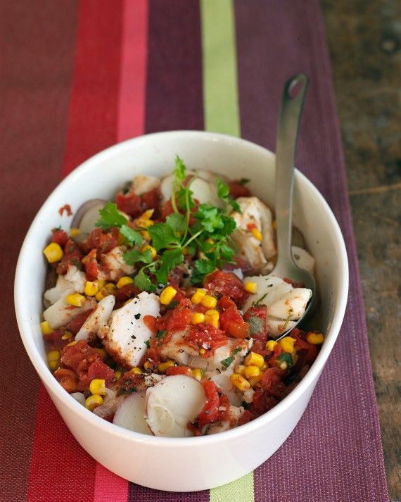 Use the microwave to prepare this stew of cod, potatoes, tomatoes, corn, and cilantro. Stir in chopped chipotles in adobo to add a smoky, spicy dimension to the stew.
