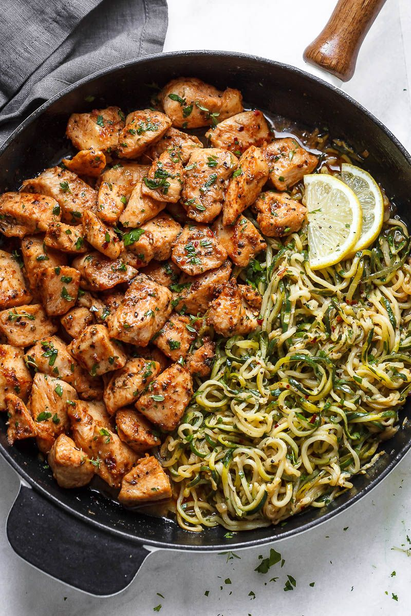 Garlic Butter Chicken Bites with Lemon Zucchini Noodles images